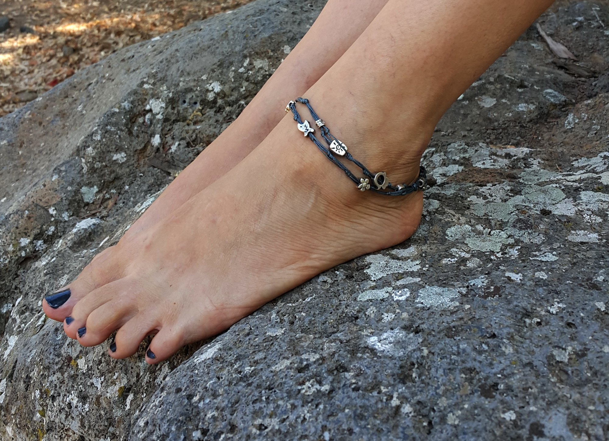 10.5 Inch Women's Anklet - Black Double Wrap Silver Plated Anklet with Hamsa Hand & Good Luck Charms