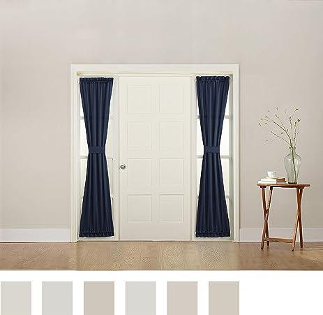 Sun Zero Barrow Front Door Sidelight Curtain Panel With Tie Back, Navy  Blue, 26