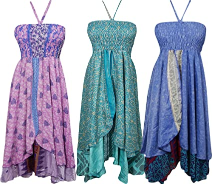 Womens Halter Dress Recycled Silk Sari Vintage Two Layer Talk Of The Town Beach Sundress Wholesale