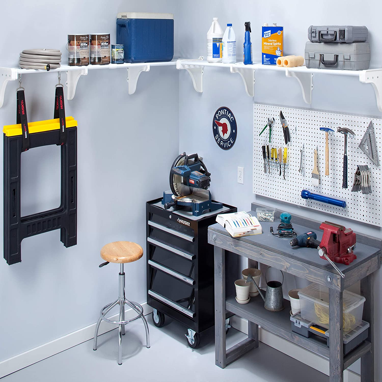 B00EFZHV9O EZ Shelf -DIY Expandable Garage Shelves (2 Pack) up to 12.5 ft - White 917Jl2l5kFL