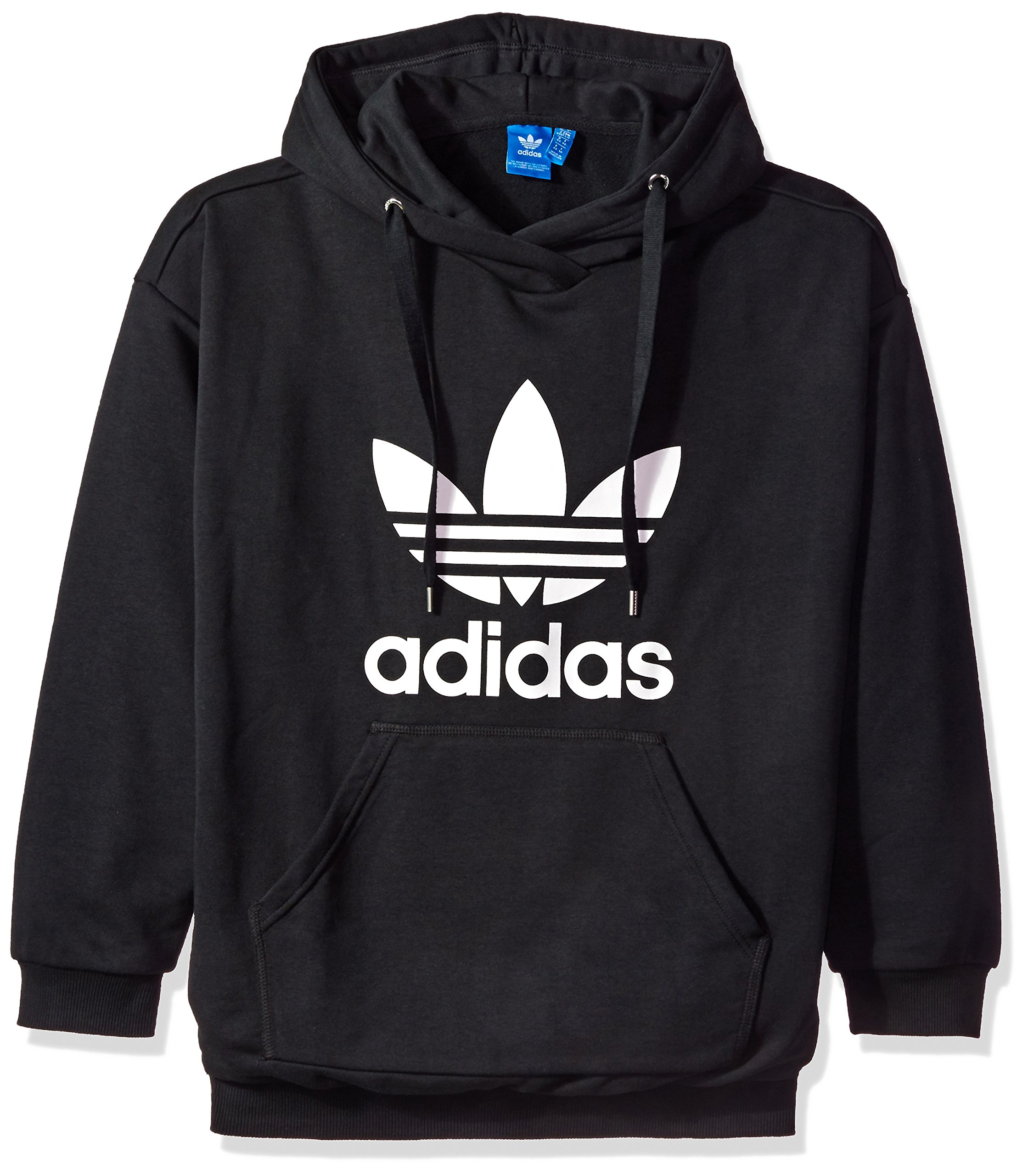 adidas Originals Women's Outerwear | Trefoil Hoodie, Black/French Terry, Large