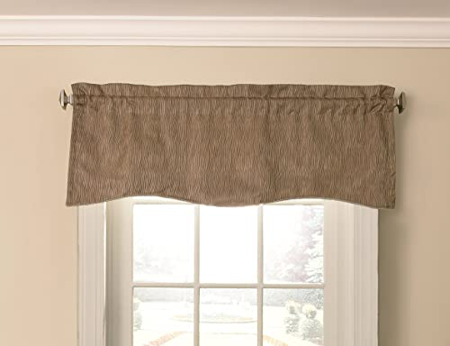 BEAUTYREST Valances for Windows – Barrou 52 x 18 Short Curtain Valance Small Window Curtains Bathroom, Living Room and Kitchens, Taupe