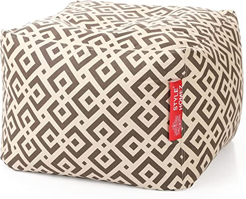 Style Homez Square Cotton Canvas Geometric Printed Bean Bag Ottoman Stool Large Cover Only, Brown Color