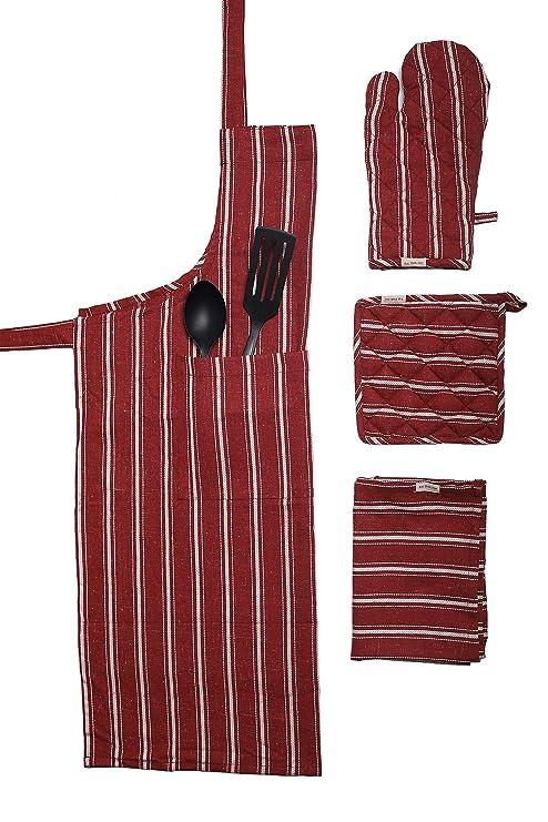 "Kitchen Linen Set,100% cotton Kitchen combo,set of 4, Essentials for all  Kitchen Apron 2835"", Oven Mitt 713"", Potholder 77"" and Dish towel 2028"",  Eat ..."
