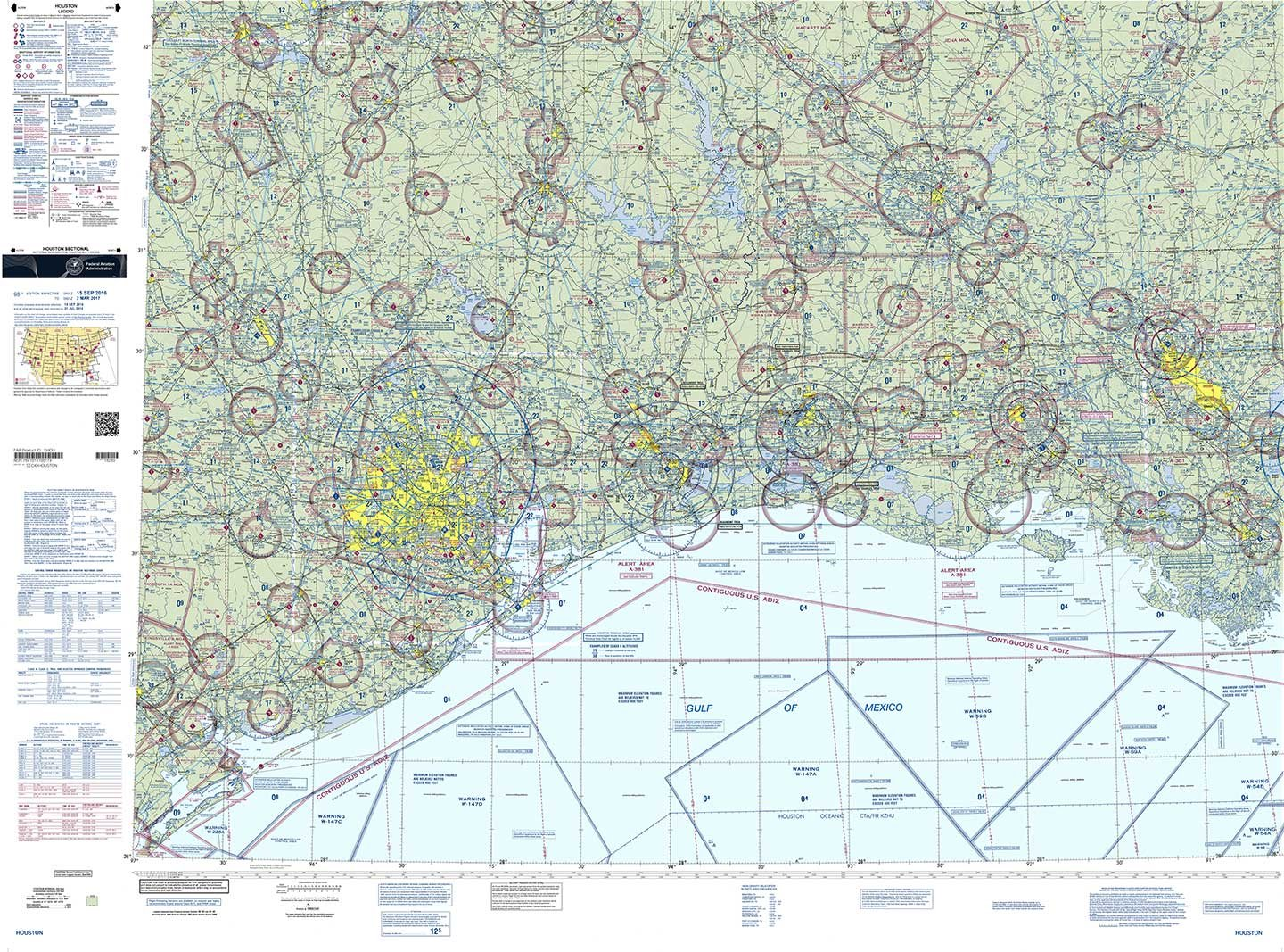 FAA Chart: VFR Sectional HOUSTON SHOU (Current Edition)