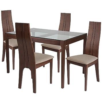 Stupendous Amazon Com Flash Furniture Glendale 5 Piece Walnut Wood Frankydiablos Diy Chair Ideas Frankydiabloscom