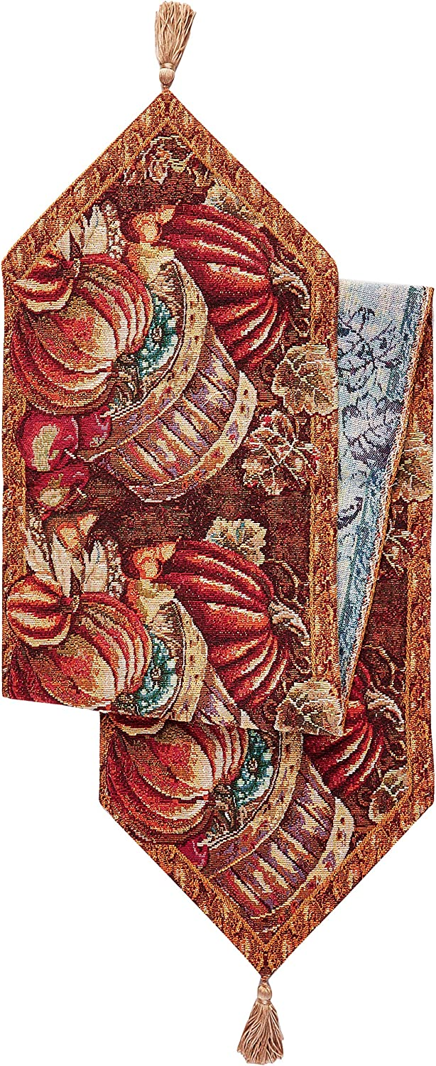 "HomeCrate Fall Harvest Collection, Tapestry Bushel Basket Pumpkins Apples and Grapes Design Table Runner, 13"" x 70"""