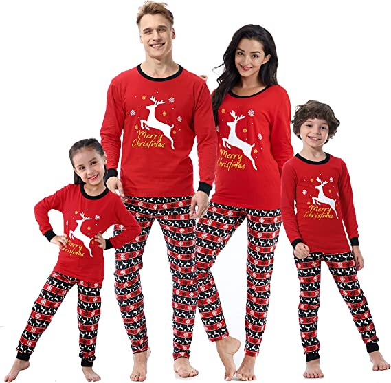 Merry Xmas Family Pyjamas for Christmas Matching Set Long Sleeve Outfits for Women Nightwear Kids Men Sleepwear Cotton Print Top+Pants