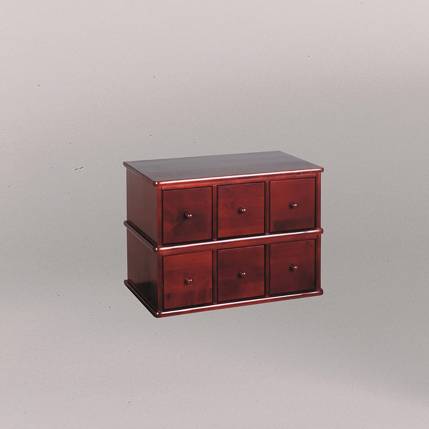 Leslie Dame CD-150C Solid Oak Apothecary Style Multimedia Stoarge Cabinet, Cherry