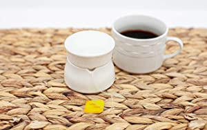 TEA BUTLER Ceramic Covered Tea Bag Holder | Covers Wet Tea Bags | An Ideal Solution for Home, Restaurants, Cafe and Office (Ivory)