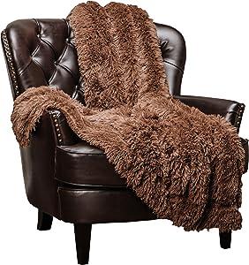 "Chanasya Super Soft Shaggy Longfur Throw Blanket   Snuggly Fuzzy Faux Fur Lightweight Warm Elegant Cozy Sherpa Fleece Microfiber Blanket   for Couch Bed Chair Photo Props - 50""x 65"" - Chocolate"