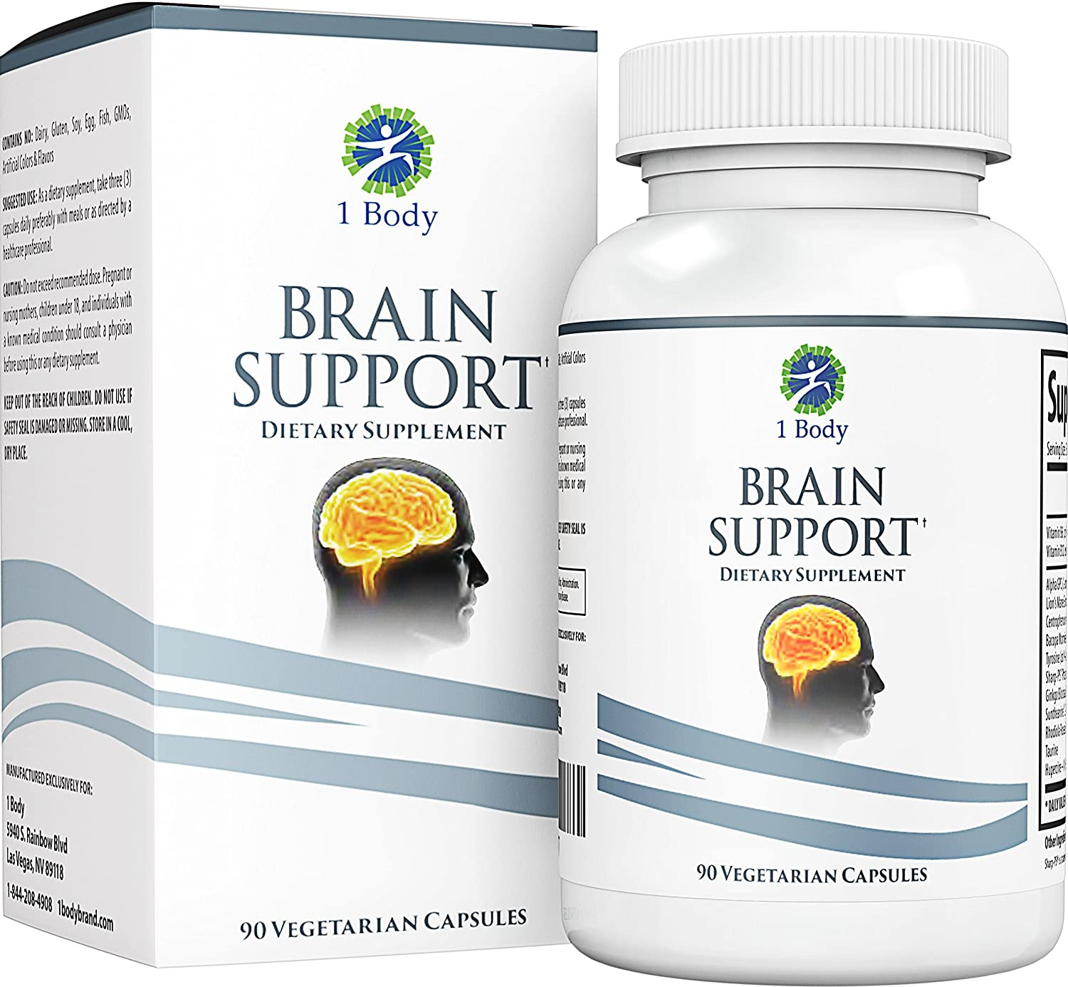 Support Healthy Brain Function with Nootropics, Improve Memory & Boost Focus - Alpha GPC, Lion's Mane Extract, Bacopa Monnieri, Phosphatidylserine, Ginkgo Biloba, Rhodiola Rosea, Huperzine A