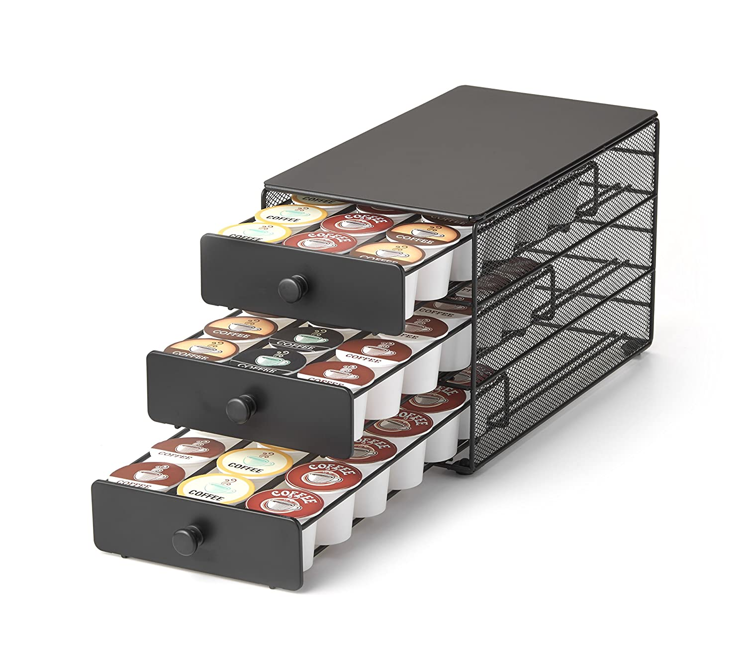Nifty 3-tier Large Capacity Coffee Pod Storage Drawer for K-Cup Pods. 54 Pod Capacity only 7 inches wide