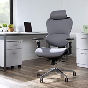 OFM Core Collection Ergo Fabric Upholstered Office Chair with Optional Headrest, Lumbar Support, in Gray