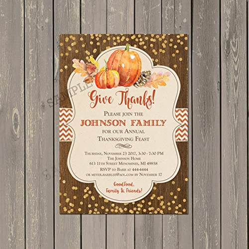 Thanksgiving Dinner Invitations Rustic Wood And Pumpkin Feast Set Of 10 5x7
