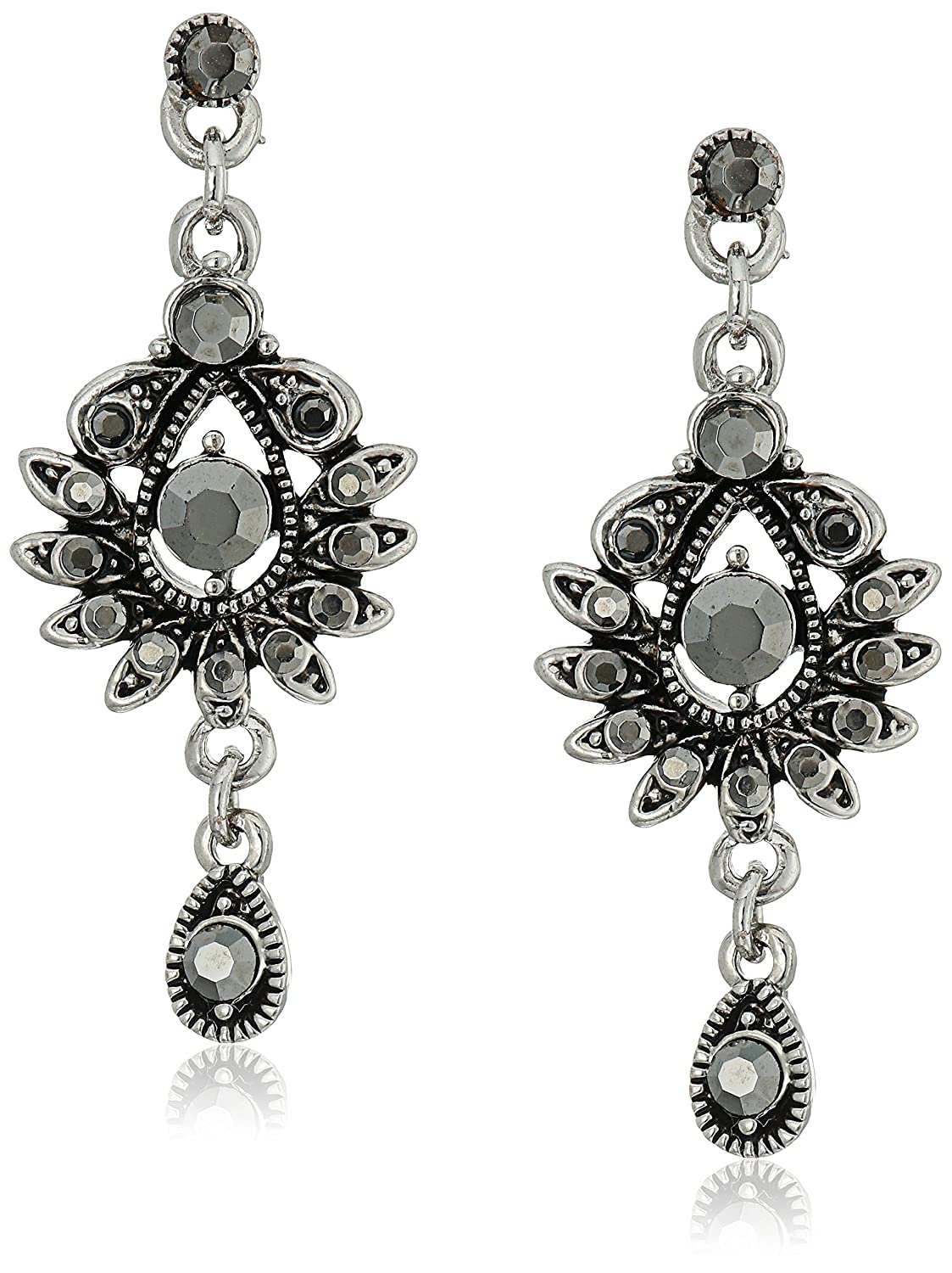 Jewelry Silver-Tone Hematite-Color Crystal Drop Earrings