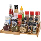 YCOCO Spice Racks for Kitchen Cabinets,Bamboo 3 Tier Expandable Spice Shelf Organizer for Kitchen Countertop and Cabinet,Step
