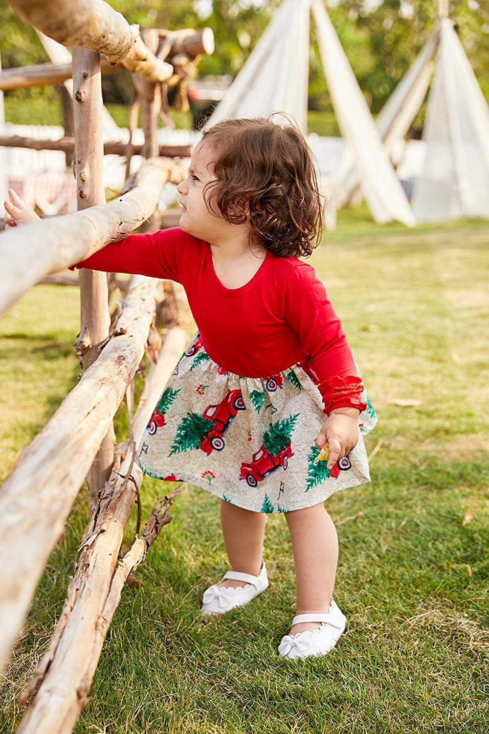 JEELLIGULAR Toddler Kids Baby Girls Christmas Dress Outfits Ruffle Sleeve Gift Car Print Dress Children Leopard Clothes