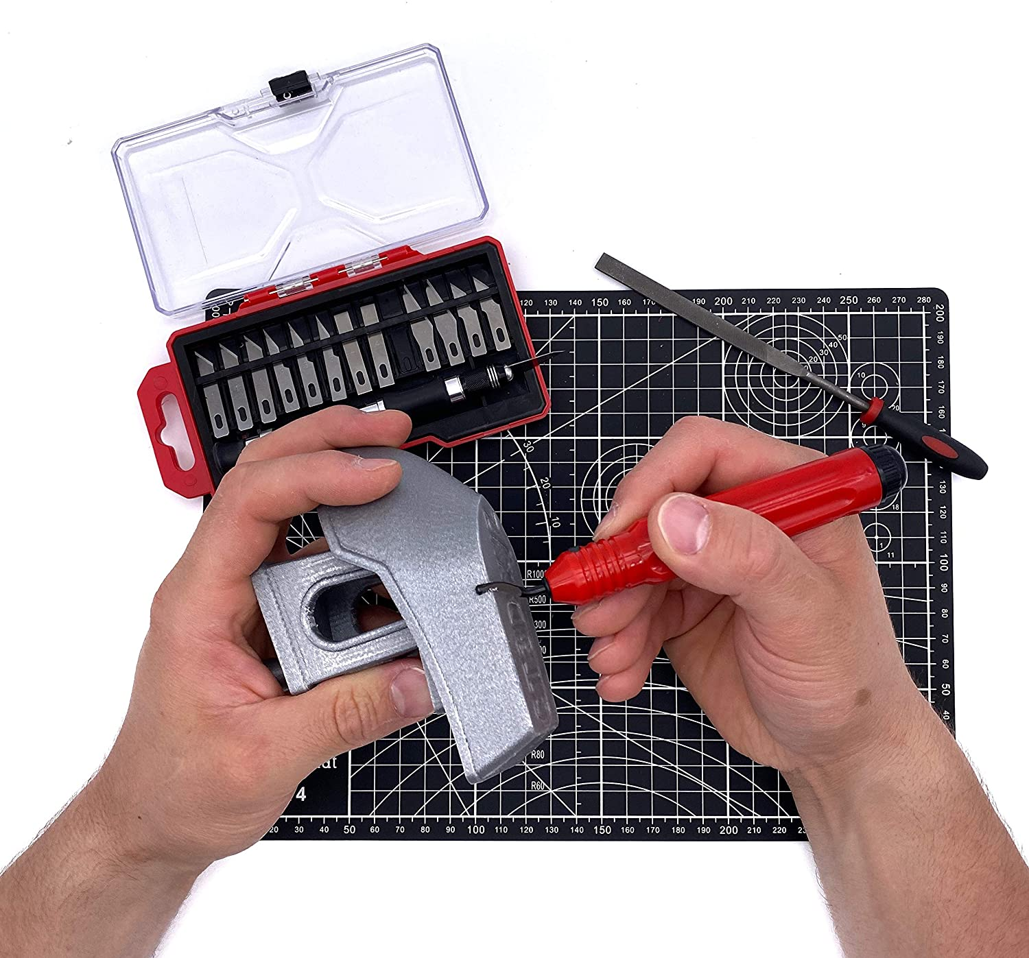 3D Printer Printing Accessory Set 3D Printing Tool Kit: Deburring Tool Precision Knives Cutting Mat Wire Brushes 3DLAB EUROPE Calipers Tool Set Printer Tools Nozzle Cleaning Needles