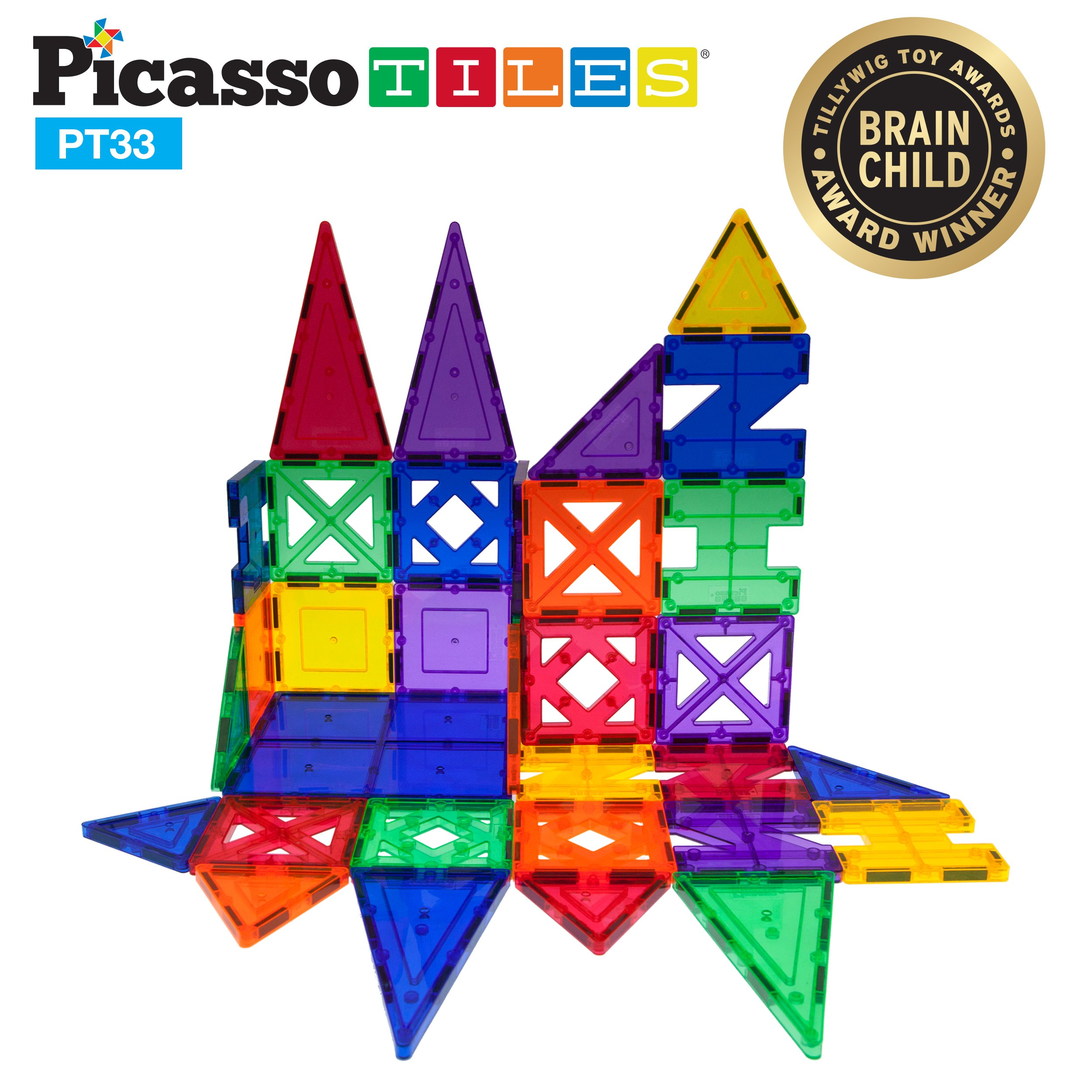PicassoTiles 33 Piece Building Blocks 33pcs Educational Kit 3D Building Construction Toy Set Clear Magnetic Stacking Block STEM Playboard Magnet Felt Tiles Novelty Game, Creativity Beyond Imagination by PicassoTiles