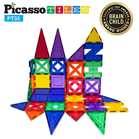 507a776001f PicassoTiles 33 Piece Building Blocks 33pcs Educational Kit 3D Building  Construction Toy Set Clear Magnetic Stacking