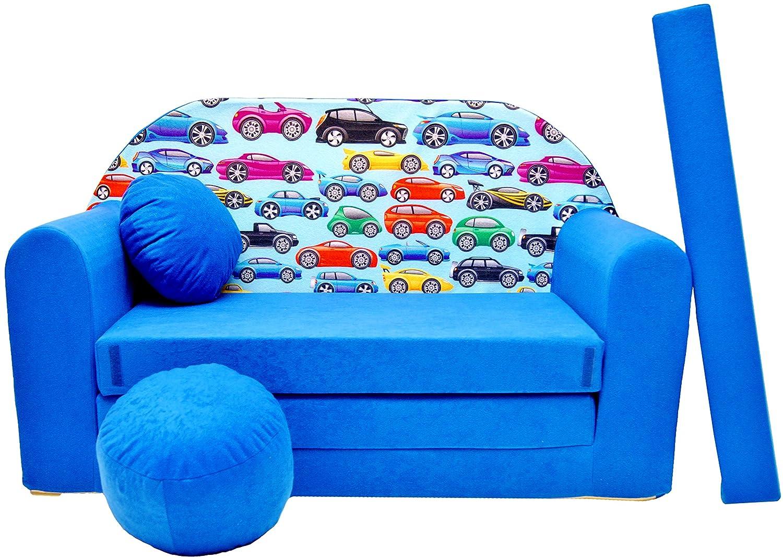 PRO COSMO C21Divano letto con pouf/poggiapiedi/cuscino, in tessuto,, 168x 98x 60cm, per bambini 640791944345