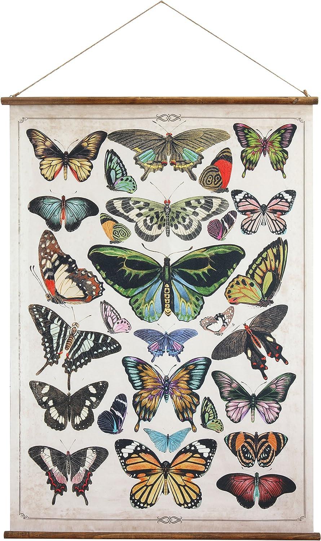 Creative Co-Op Butterflies Burlap & Wood Scroll Wall Décor