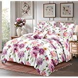 Dreamline Dwell Luxury Pink Floral Double Bedsheet with 2 Pillow Cover Set (DSN-01)