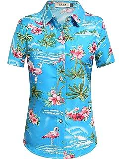 0a0cfe83 SSLR Men's Flamingos Casual Short Sleeve Aloha Hawaiian Shirt at ...