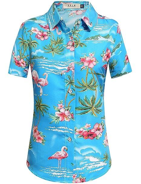 SSLR Camisa Hawaiana Mujer Blusa Flamencos Floral Casual para Verano (X-Small, Azul