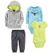 Simple Joys by Carter's Baby Boys' 4-Piece Little Jacket Set, Gray Airplane, 18 Months