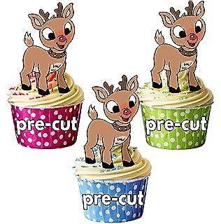 12 Weihnachtsbaum essbar Cupcake Dekoration kuchen-abdeckung vorgeschnitten 40mm