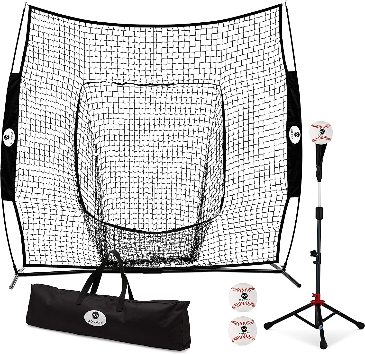 Morvat Baseball Net and Baseball Tee Bundle, Baseball Pitching Net, Baseball Training Equipment for Hitting and Pitching, Baseball Accessories, Bownet Includes 3 Softballs and Carry Bag, 7 x7