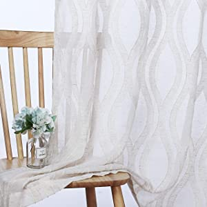 LORDTEX Faux Linen Geometric Clipped Jacquard Sheer Curtains for Bedroom - Voile Semi Sheer Curtains Light Filtering Grommet Top Window Drapes for Living Room, Set of 2 Panels, 52 x 84 Inch, Linen