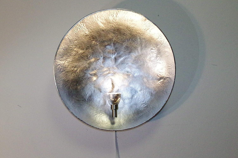 Silber 52 Wandlampe rund innen modern Wohnzimmer Schlafzimmer Flur Treppenhaus Wandbeleuchtung Design WandleuchteDiego