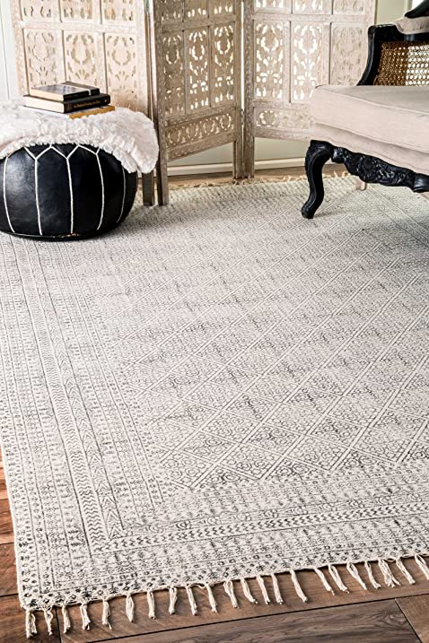 Flatweave Cotton Sparkling Moroccan Tribal Trellis Ivory Area Rugs 7 Feet 6 Inches By 9