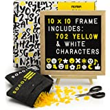 "Letter Board Set: Black Felt Message Board in Solid Oak Frame, 10 x 10"" with 702 Letters (340 White, 362 Yellow), Adjustable Wood Easel Stand, Precision Scissors & 2 Zippered Storage Pouches by Tovos"