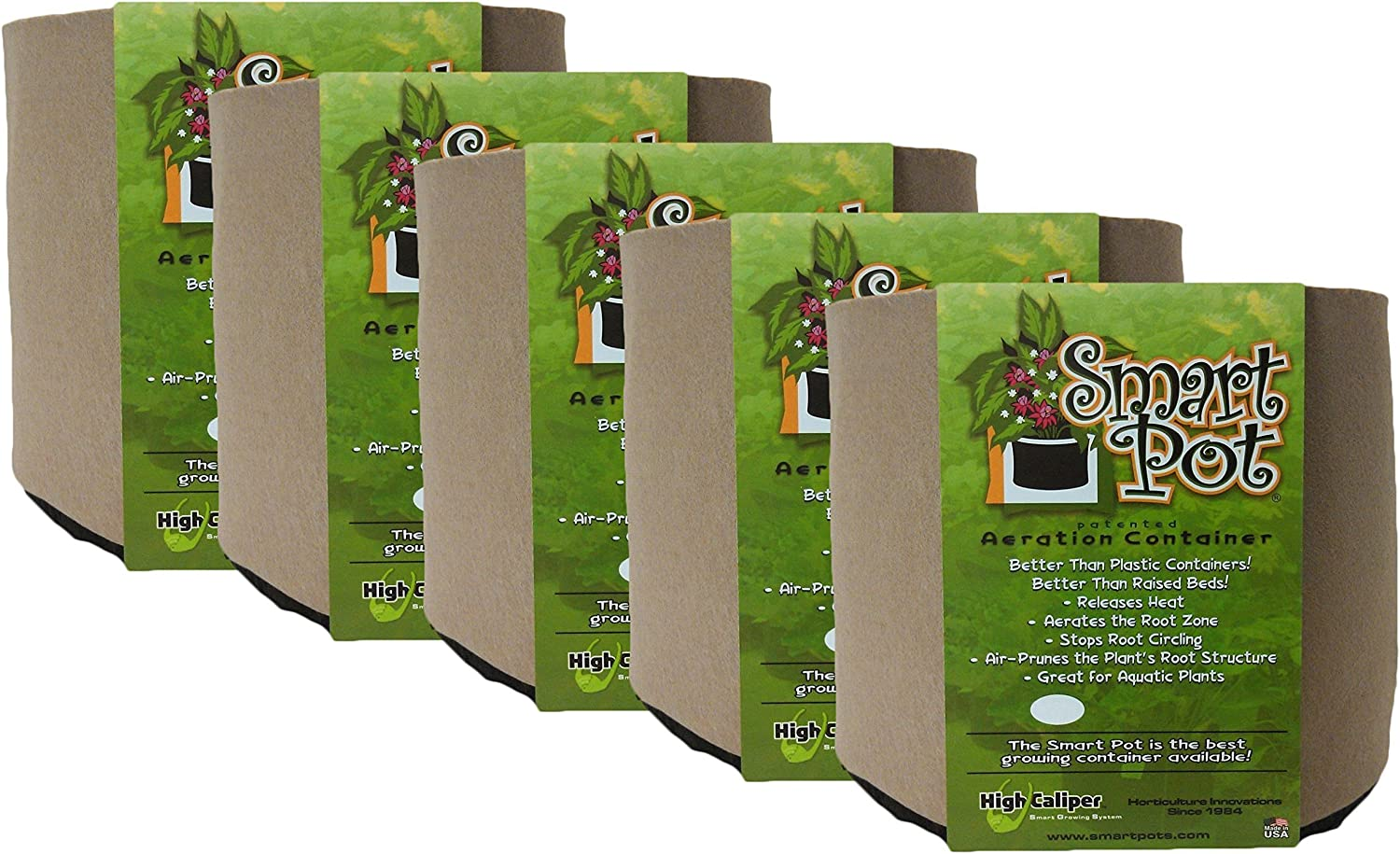 Smart Pot Soft-Sided Fabric Garden Plant Container Aeration Planter Pots, Tan, 1 gallon, 5 Pack