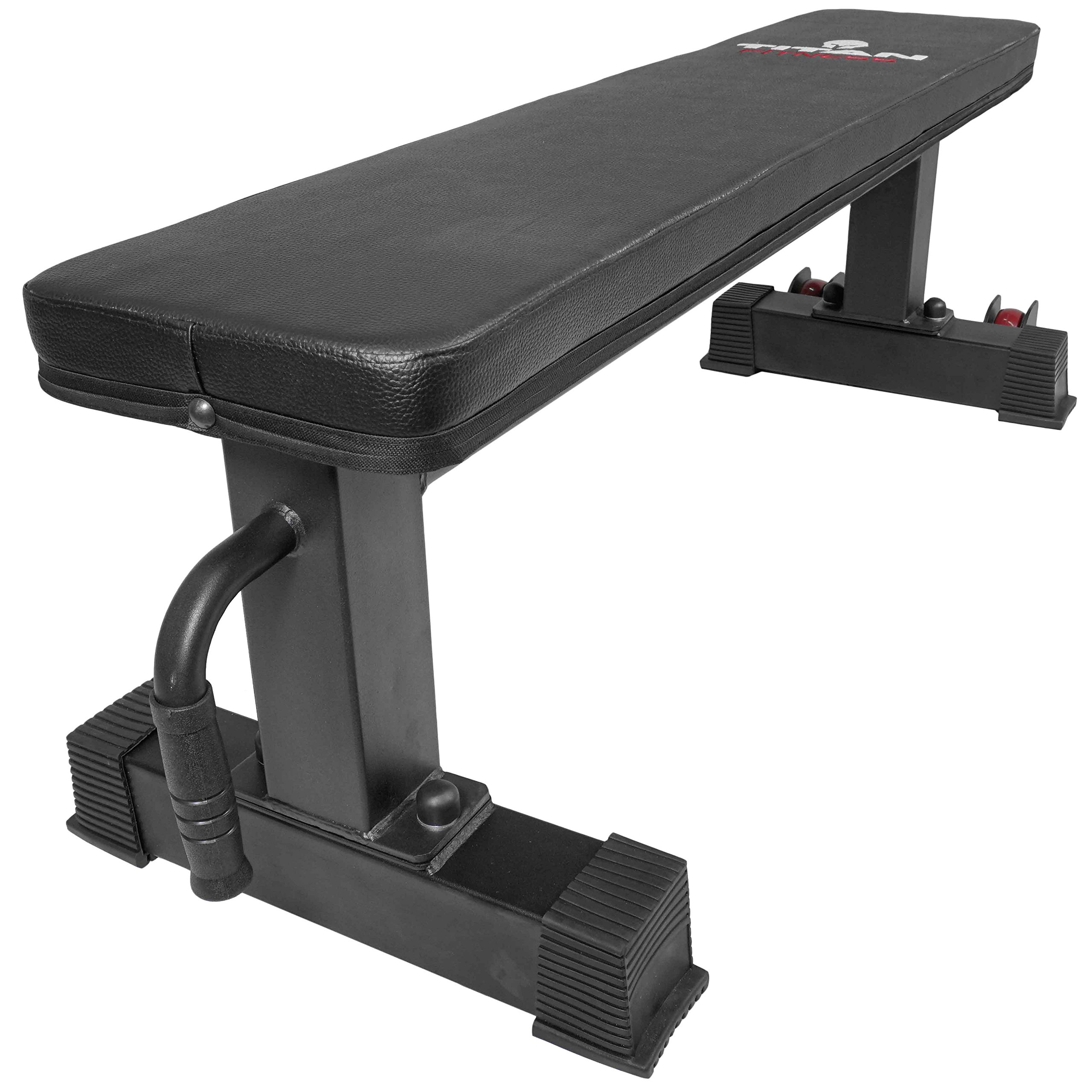 Titan Fitness Flat Weight Bench 1,000 lb Rated Capacity w/Handle & Wheels by Titan Fitness