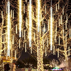 GPODER 50CM Shower Rain Lights, 576 LEDs Falling Rain Lights, 12 Waterproof Spiral Tubes Meteor Lights for Christmas Outdoor Garden House Window Xmas Tree Decoration(Warm White)