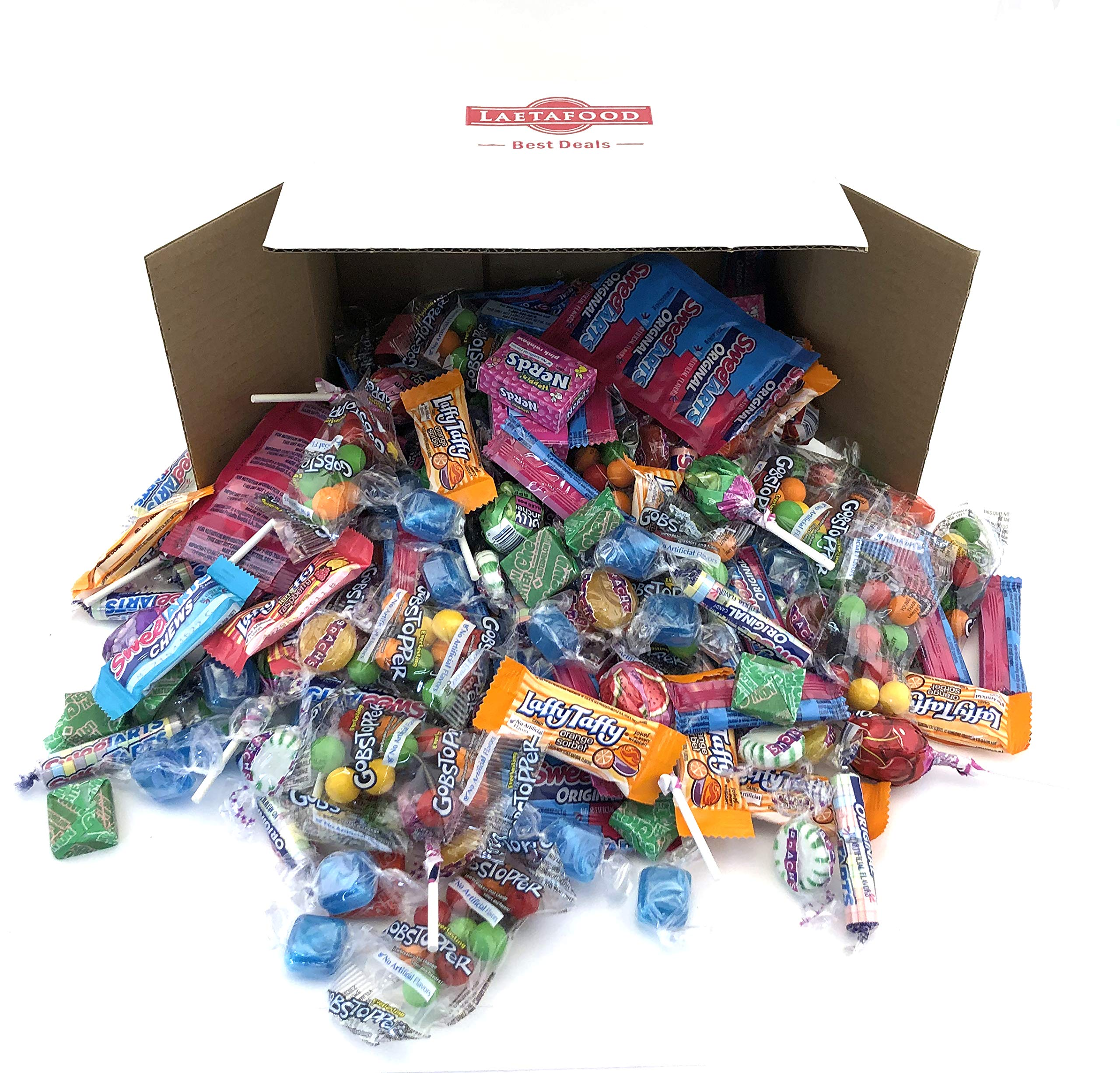 LaetaFood Pack, Favorite Candy Assortment - Jolly Rancher Pops, Wonka Laffy Taffy, SweeTarts, Nerds Mini Box, Brach's Candy, Gobstopper, Primrose Blue Mints, Ferrara Now Later Chews (10 Pound Bulk) by LAETAFOOD