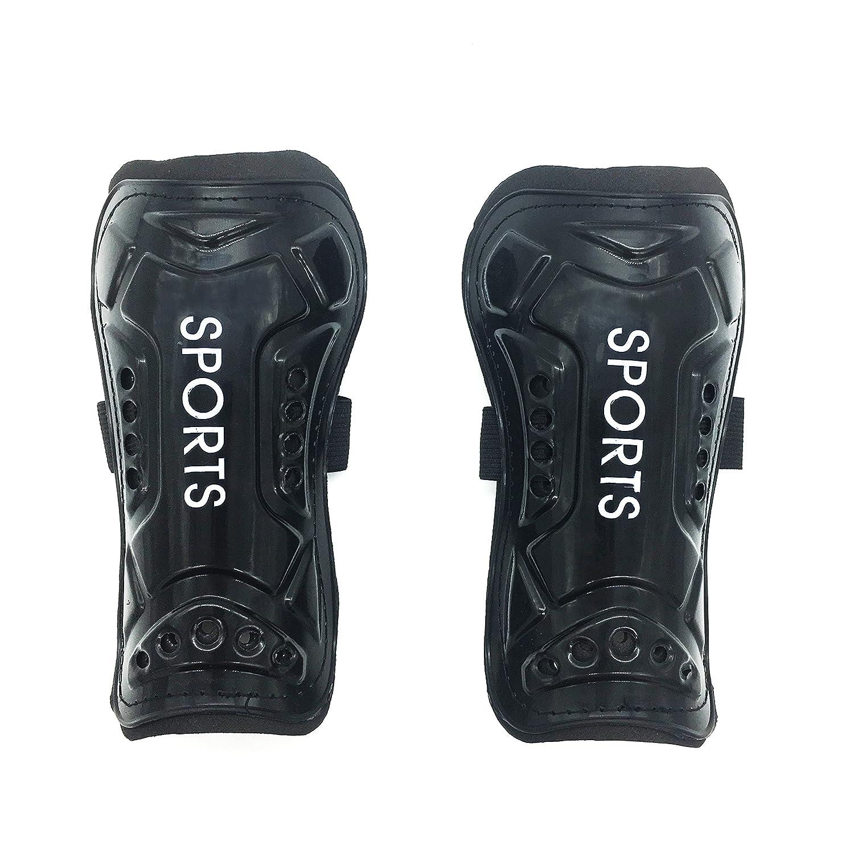 silfraeサッカーすね当て調節可能な脚パッド影響抵抗2サイズの子と大人用1ペア B0792QVDFK Adult|ブラック ブラック Adult