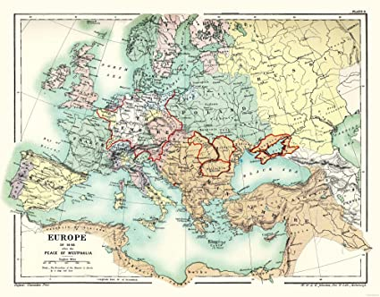 Amazon.com: MAPS OF THE PAST International Map - Europe 1648 - Peace ...