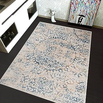 Hochwertig Tapiso MONTREAL Teppich Kurzflor Acryl In Creme Blau Modern Vintage  Ornament Muster 3D Optik Wohnzimmer Schlafzimmer