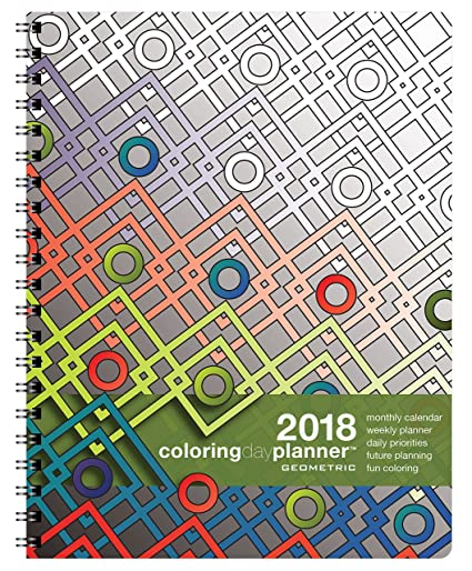 amazon com action publishing coloring day planner 2018 geometric