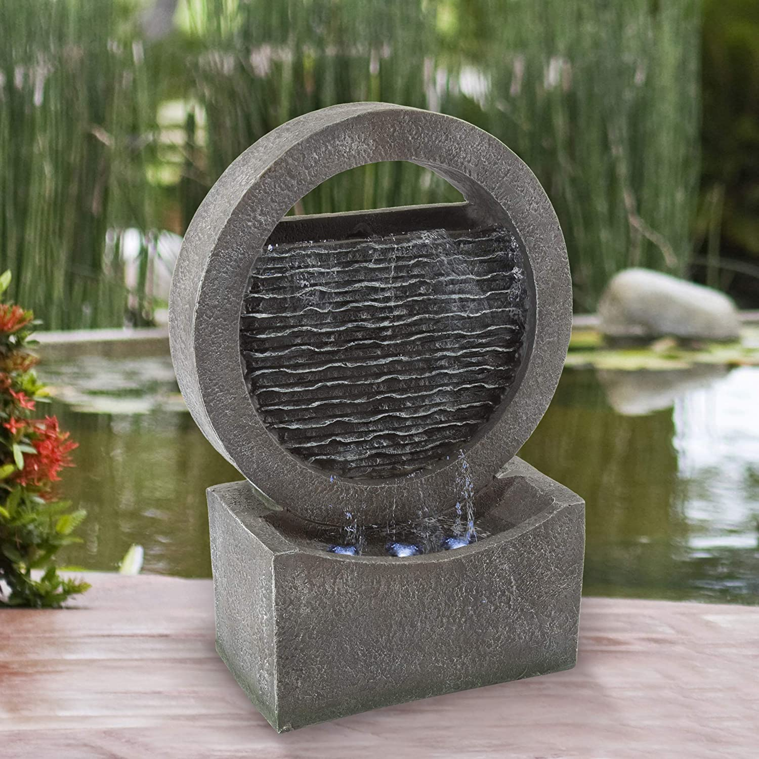 Pure Garden 50-LG1217 Round Cascade Fountain-Polyresin Waterfall with LED Lights, Silver