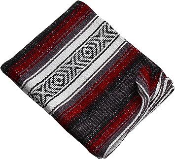 Threads West Premium Large Heavyweight Mexican Falsa Blanket, Serape Stripe Yoga Blanket, Beach Blanket Available in 3 Sizes! (Beach Heavy, Burgundy ...
