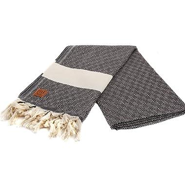 Gold Case Hermes 100% Cotton pestemal - Bath & Beach Multi-Purpose Turkish Towel/Throw - 39x70(100x180cm) Peshtemal, Black