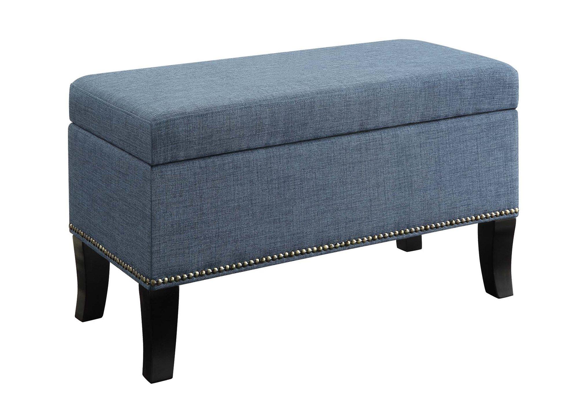 Convenience Concepts 161322FBE Designs4Comfort Winslow Storage Ottoman, Blue Fabric
