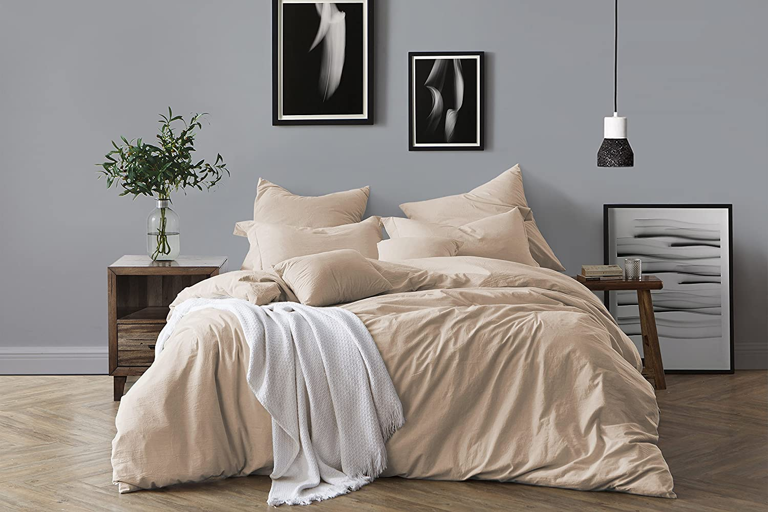 Swift Home 100% Cotton Washed Yarn Dyed Chambray Duvet Cover & Sham Bedding Set, Ultra-Soft Luxury & Natural Wrinkled Look – King/California King, Almond